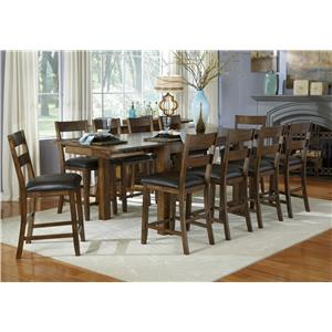 Aamerica mariposa gathering leg table with two leaves for 11 piece dining table set