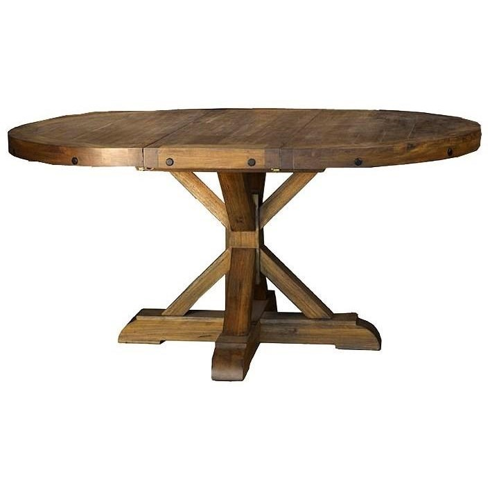 Aamerica anacortes round to oval pedestal dining table for Round kitchen table with leaf