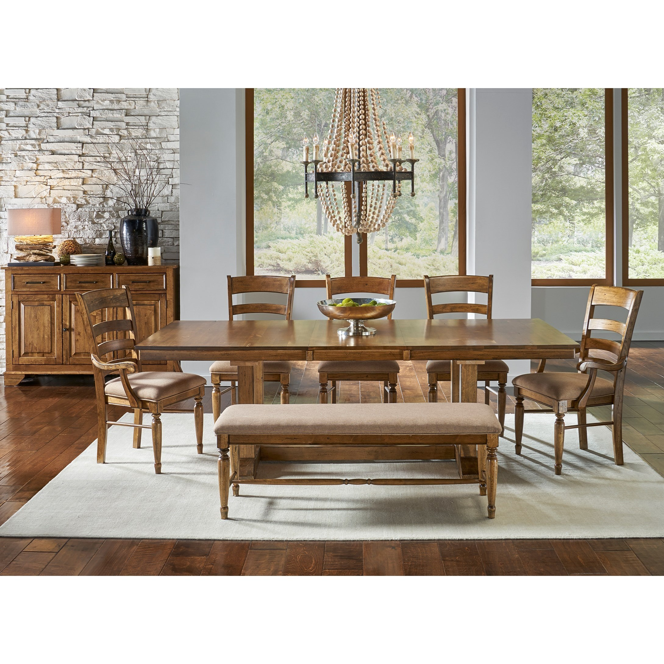 Aamerica bennett 7 piece trestle dining set with for 7 piece dining set with bench