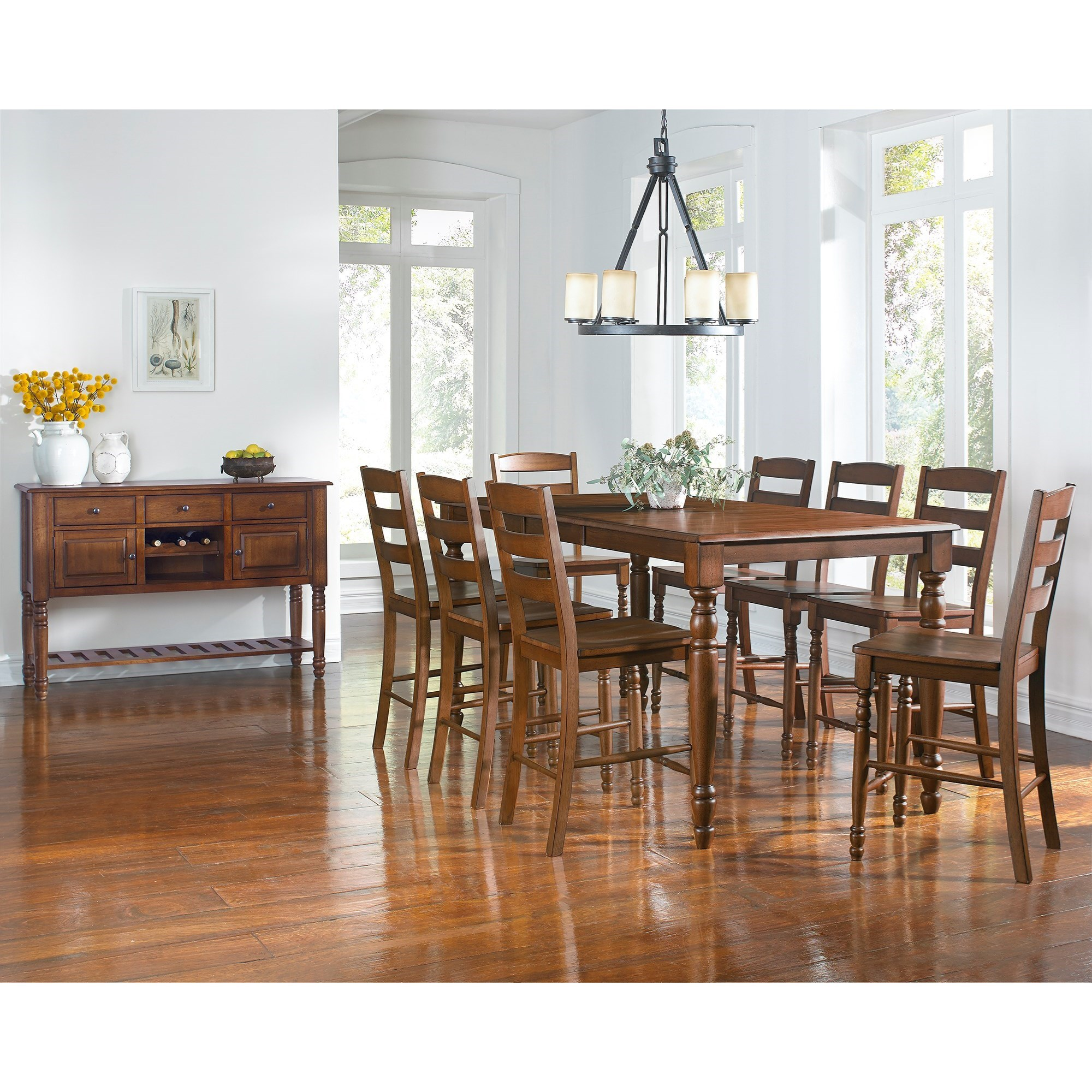 Aamerica roanoke 9 piece counter height dining table for Table 6 wildwood mo