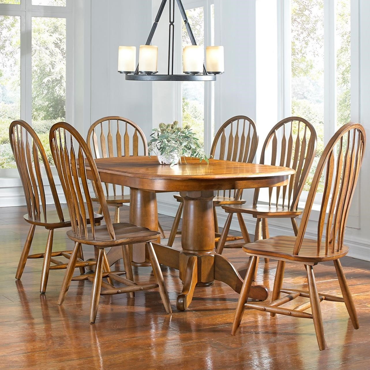 Aamerica Roanoke 7 Piece Butterfly Ext Trestle Table Arrowback Chair Set Wayside Furniture