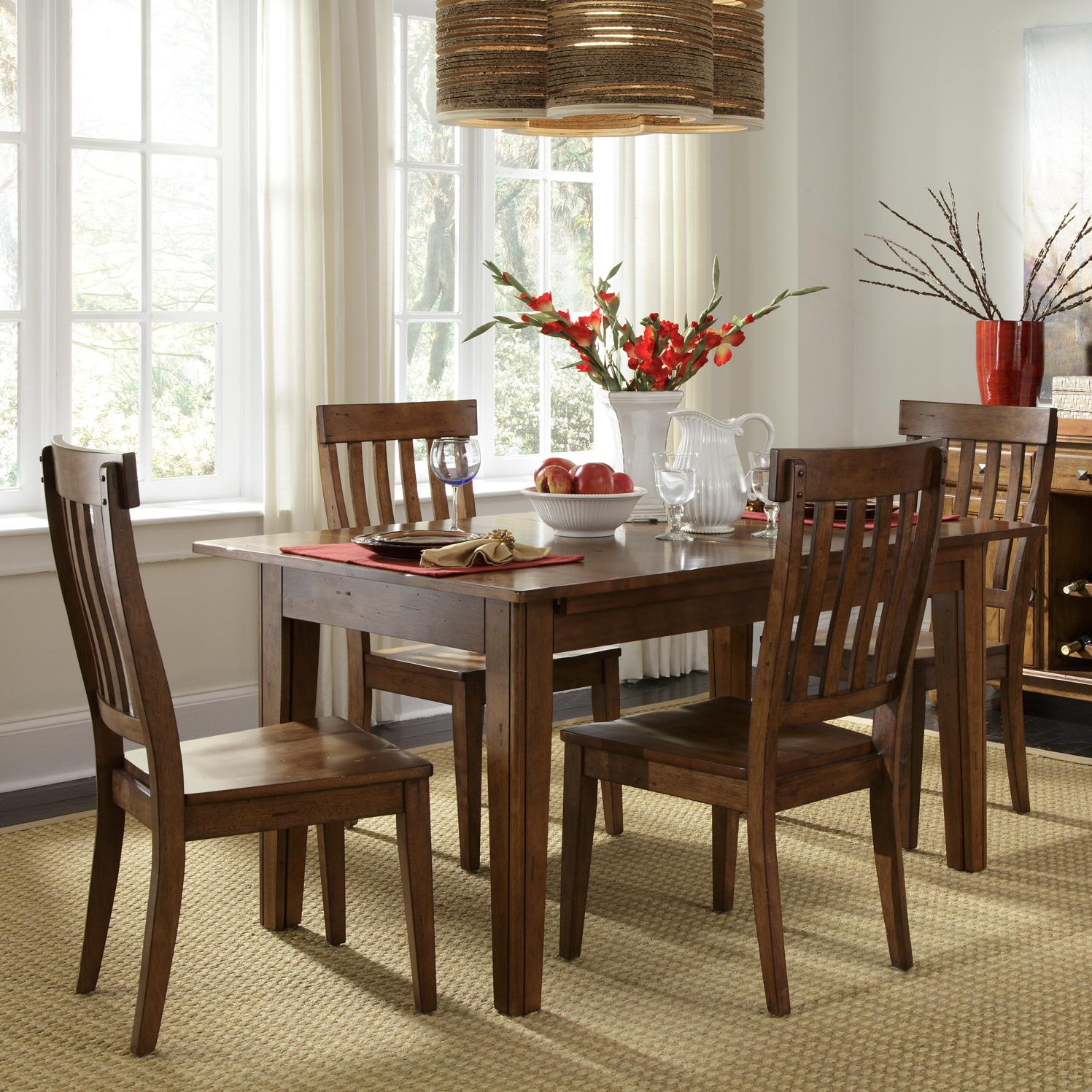 Aamerica Toluca Vers A Table With 4 Slat Back Side Chairs Rife 39 S Home Furniture Dining 5