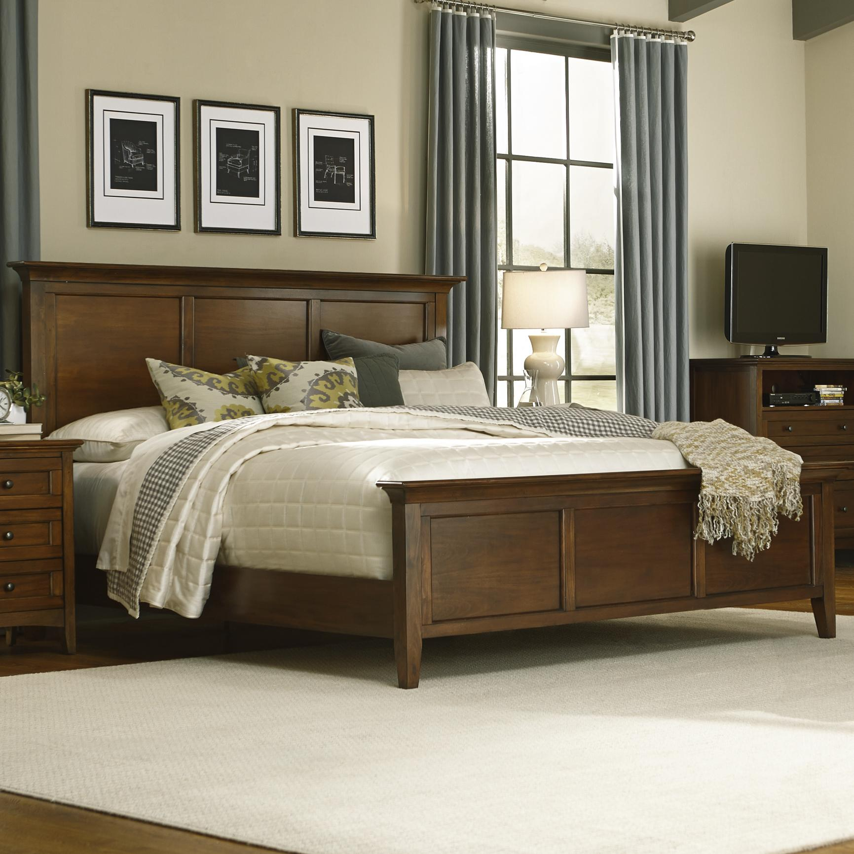 Aamerica westlake queen panel bed fashion furniture for Panel bed mattress