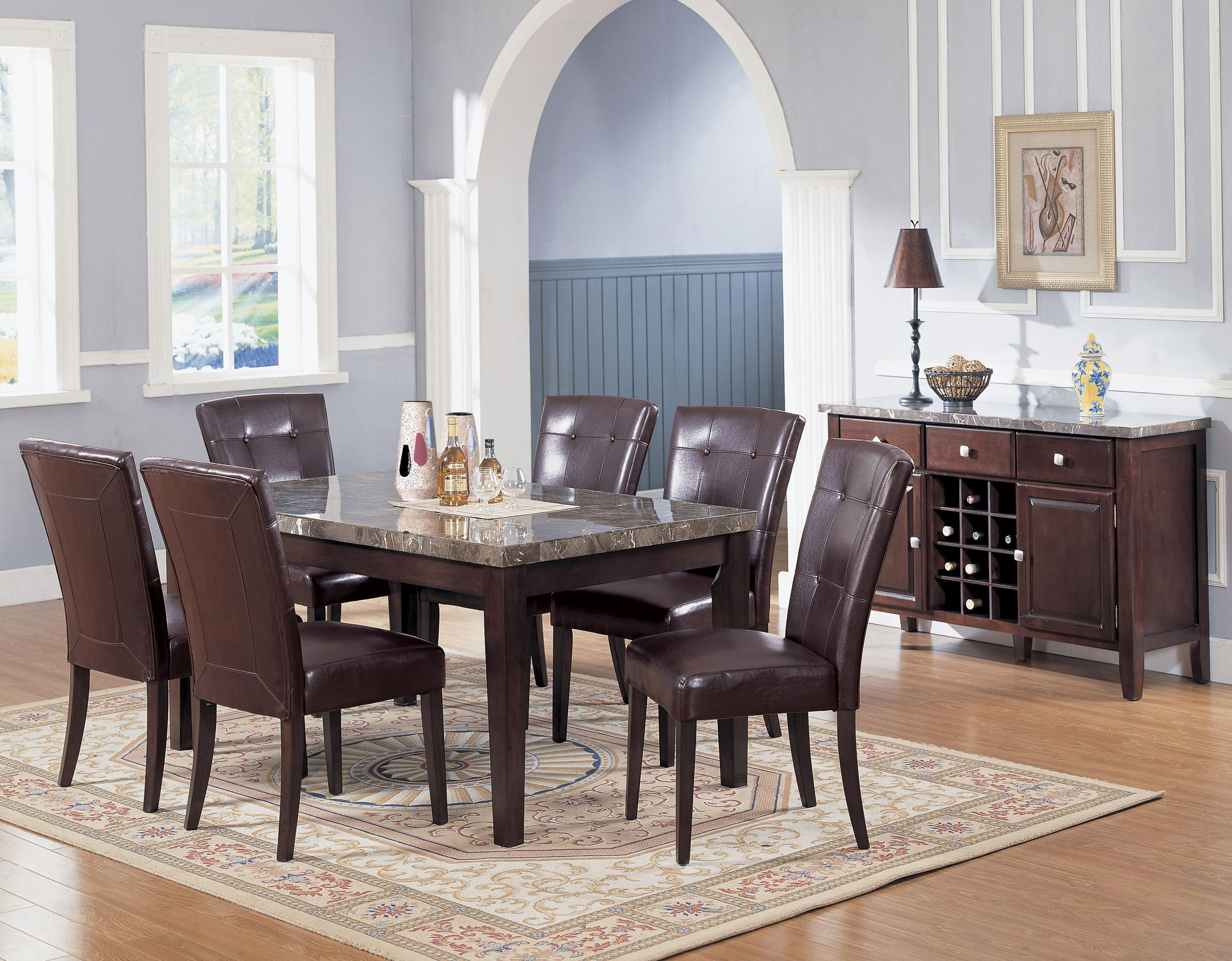 acme furniture 7058 danville black marble top seven piece dining set