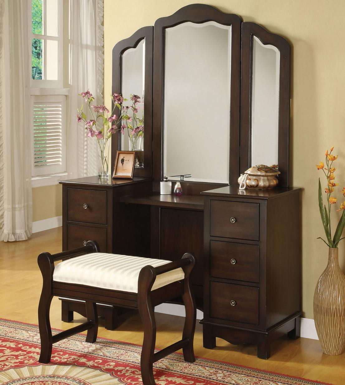 Acme Furniture Annapolis Vanity Set With Upholstered Stool Del Sol Furniture Vanity