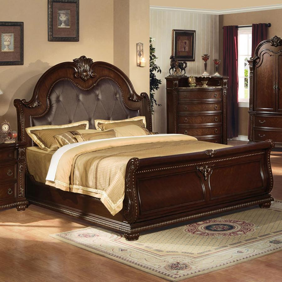 Acme furniture anondale 10307ek traditional king sleigh for King sleigh bed bedroom sets