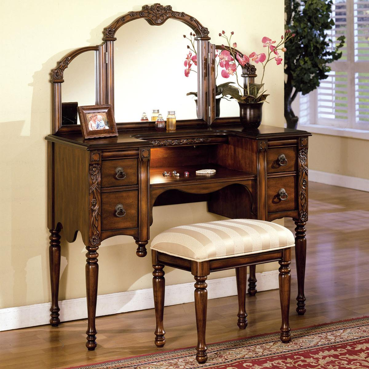 Acme furniture ashton vanity table stool and mirror set for Vanity mirror and desk