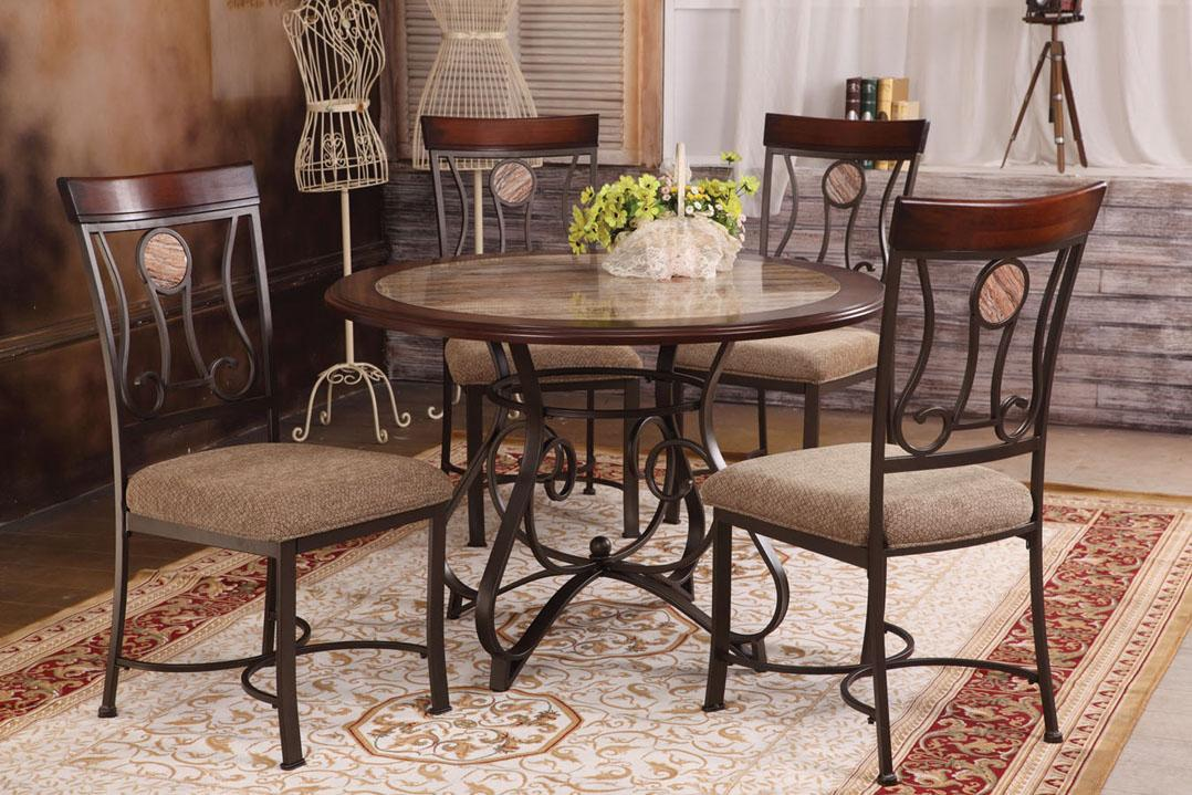 acme furniture barrie 5 piece round table upholstered. Black Bedroom Furniture Sets. Home Design Ideas