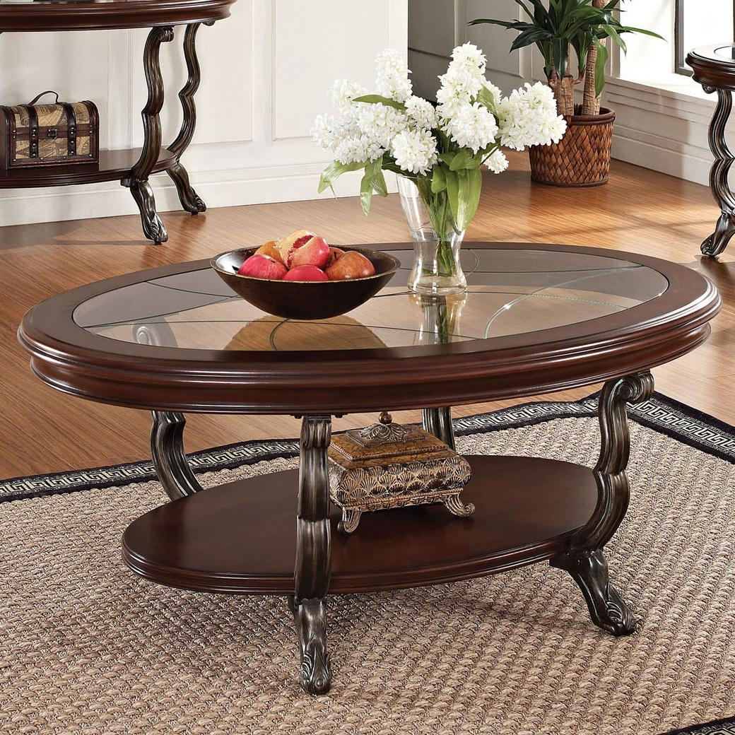 Acme Furniture Bavol 80120 Coffee Table With Tempered Glass Top And Pad Feet Del Sol Furniture