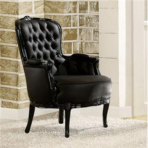 Acme furniture cain black accent chair w pillow arms bigfurniturewebsite upholstered chairs for Black accent chairs for living room