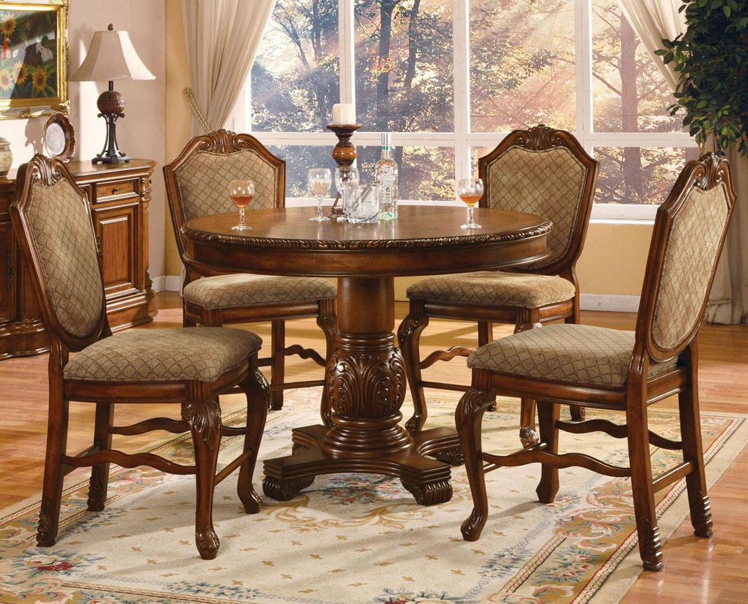 acme furniture chateau de ville 5 piece counter height dining set with fabric upholstered chairs. Black Bedroom Furniture Sets. Home Design Ideas