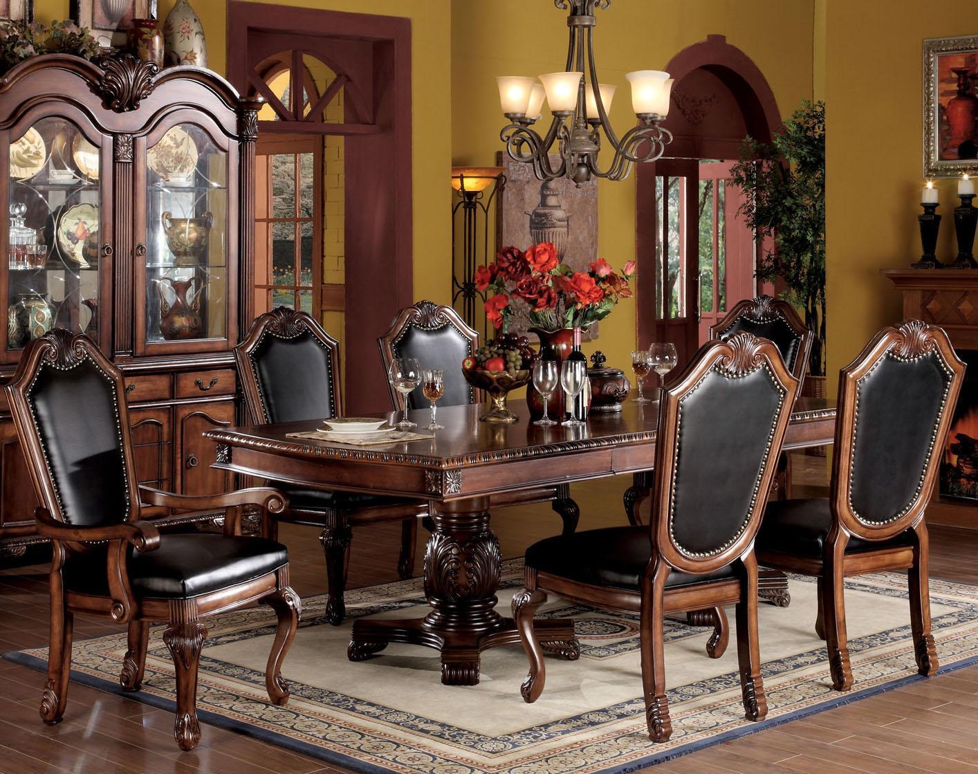 Acme furniture chateau de ville 7 piece formal dining set for Leather dining room sets