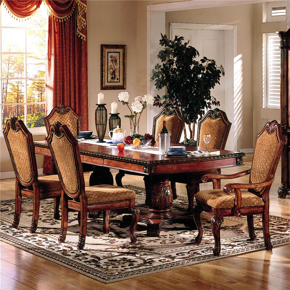 Acme furniture chateau de ville 7 piece formal dining set for Furniture ville