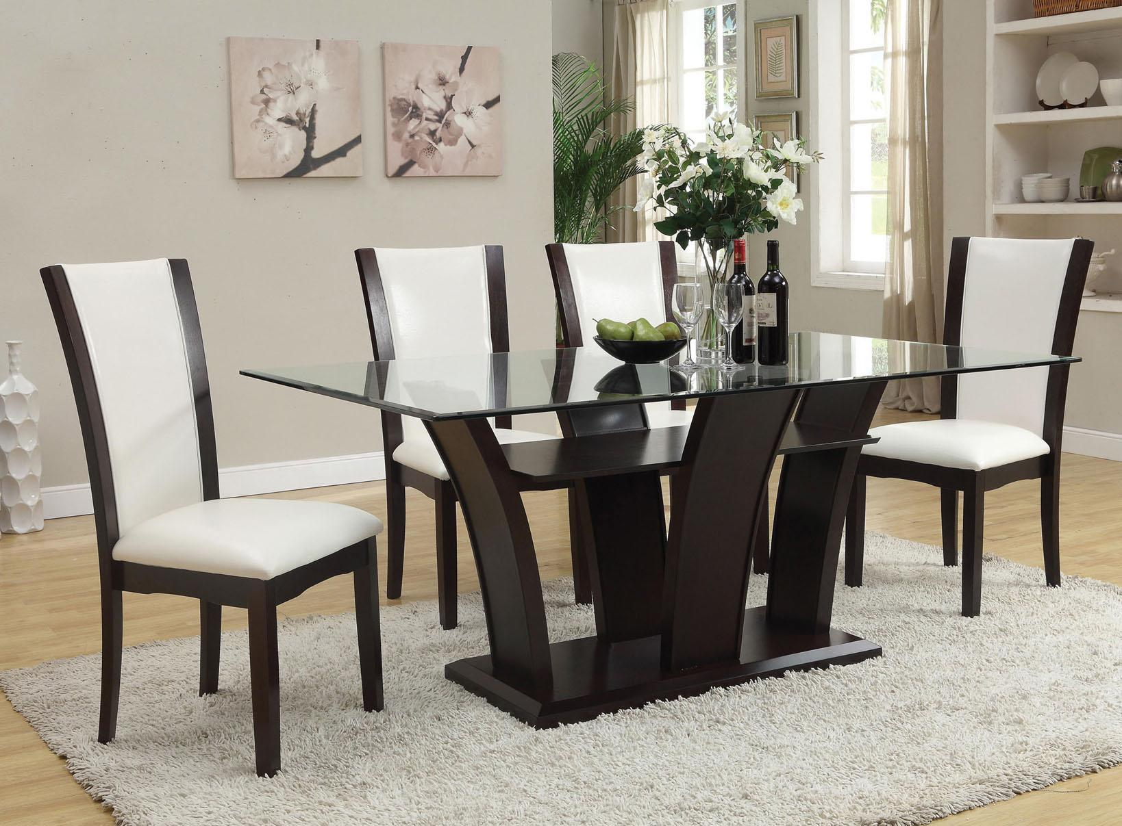 Acme Furniture Malik 70505 Contemporary Casual Dining Table W Glass Top Del Sol Furniture