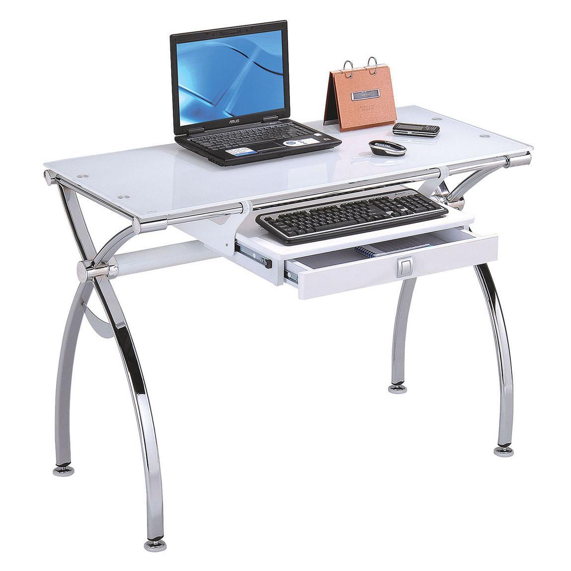 Acme furniture retro 92062 contemporary metal and glass computer desk del sol furniture - Metal office desk ...