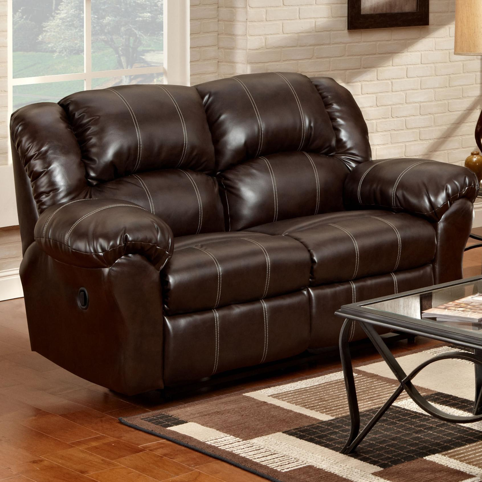 Reclining loveseat with pillow arms 1000 by affordable for Affordable furniture number