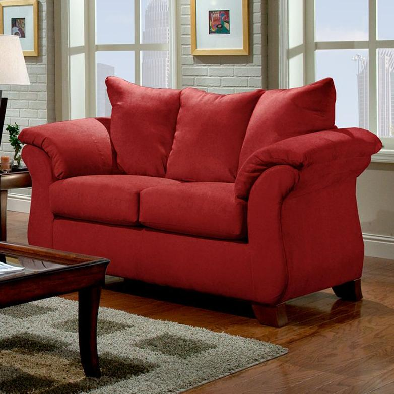 Transitional flared pillow arm stationary loveseat 6700 for Affordable furniture number