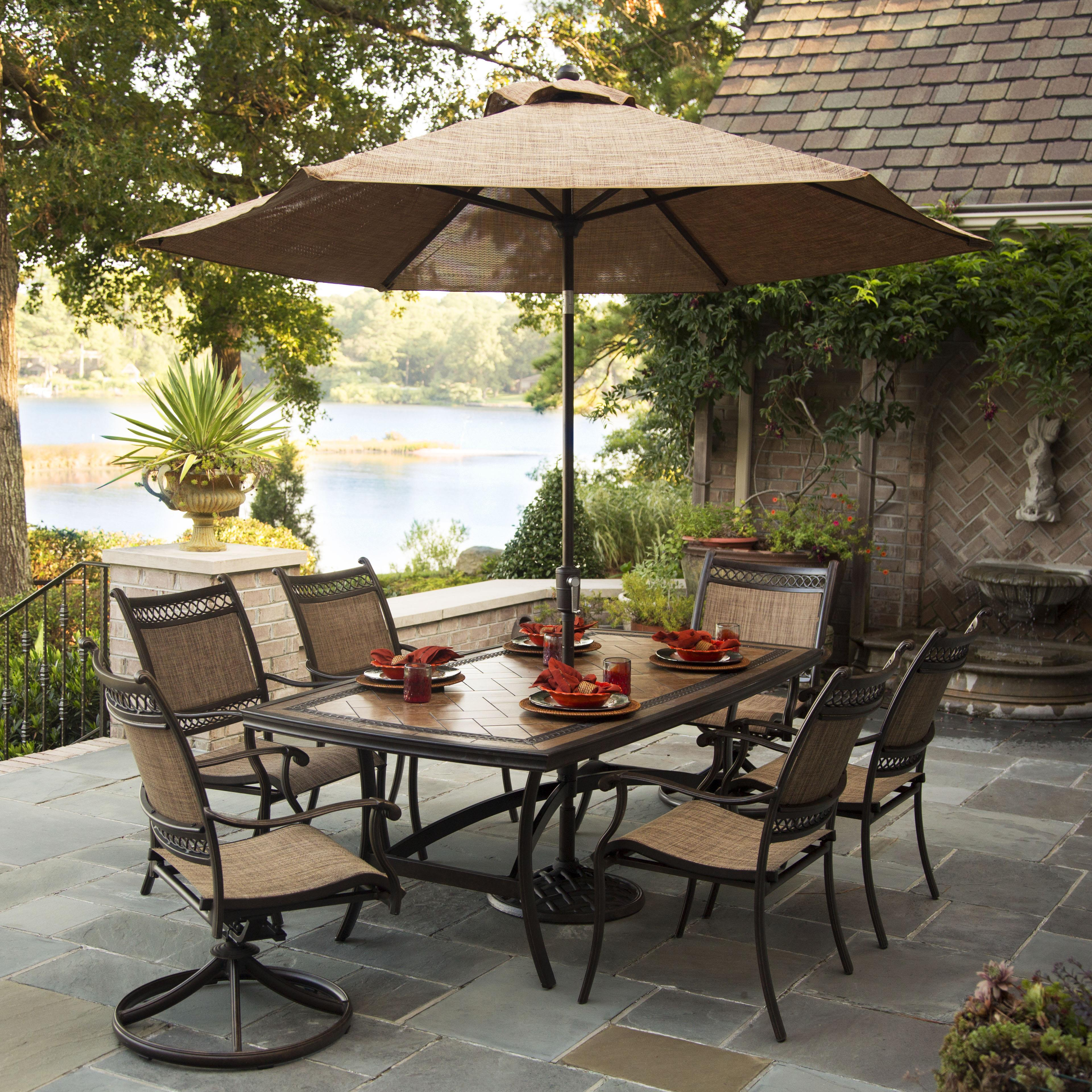 Outdoor patio dining sets with umbrella oakland living for Patio furniture sets with umbrella