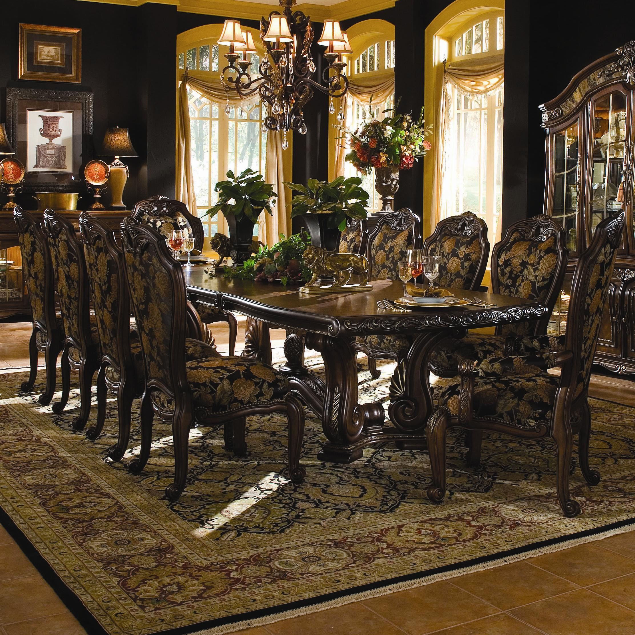 Michael amini oppulente 11 piece traditional rectangular for 11 piece dining table set