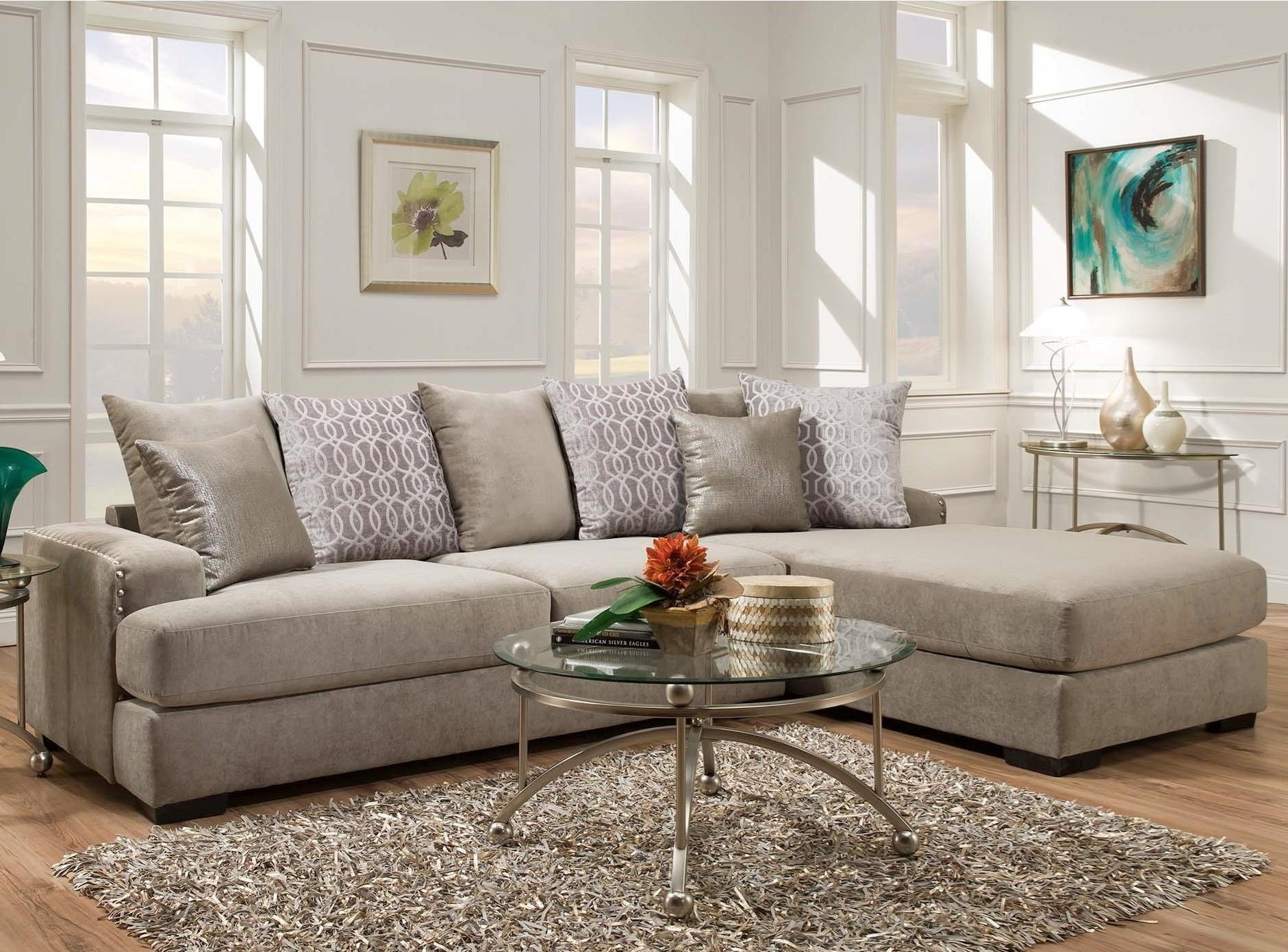 Albany 883 Casual Sectional Sofa With Chaise And Nailhead