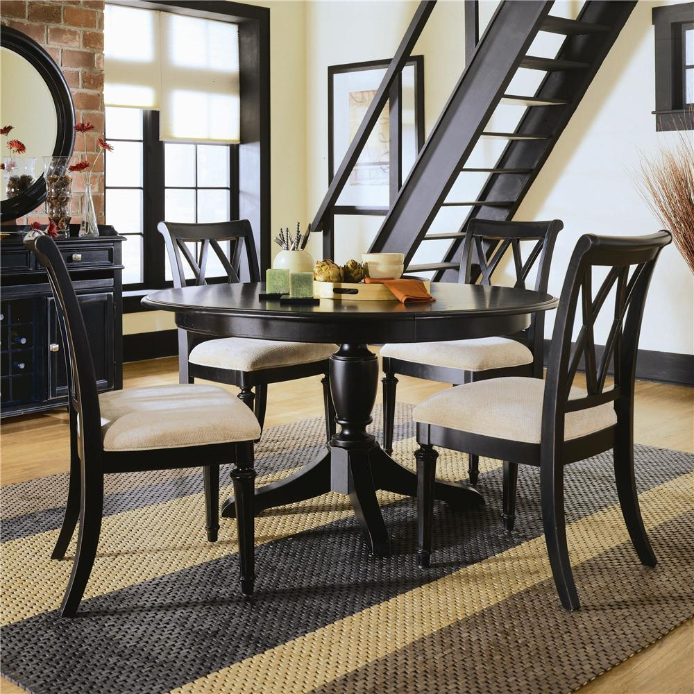 American drew camden dark round dining table with splat for American furniture dinette sets
