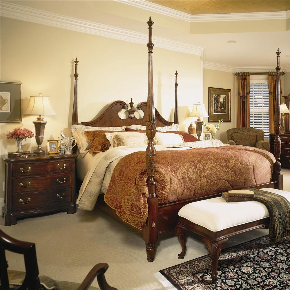 cherry grove 45th king pediment poster bed with turned posts by