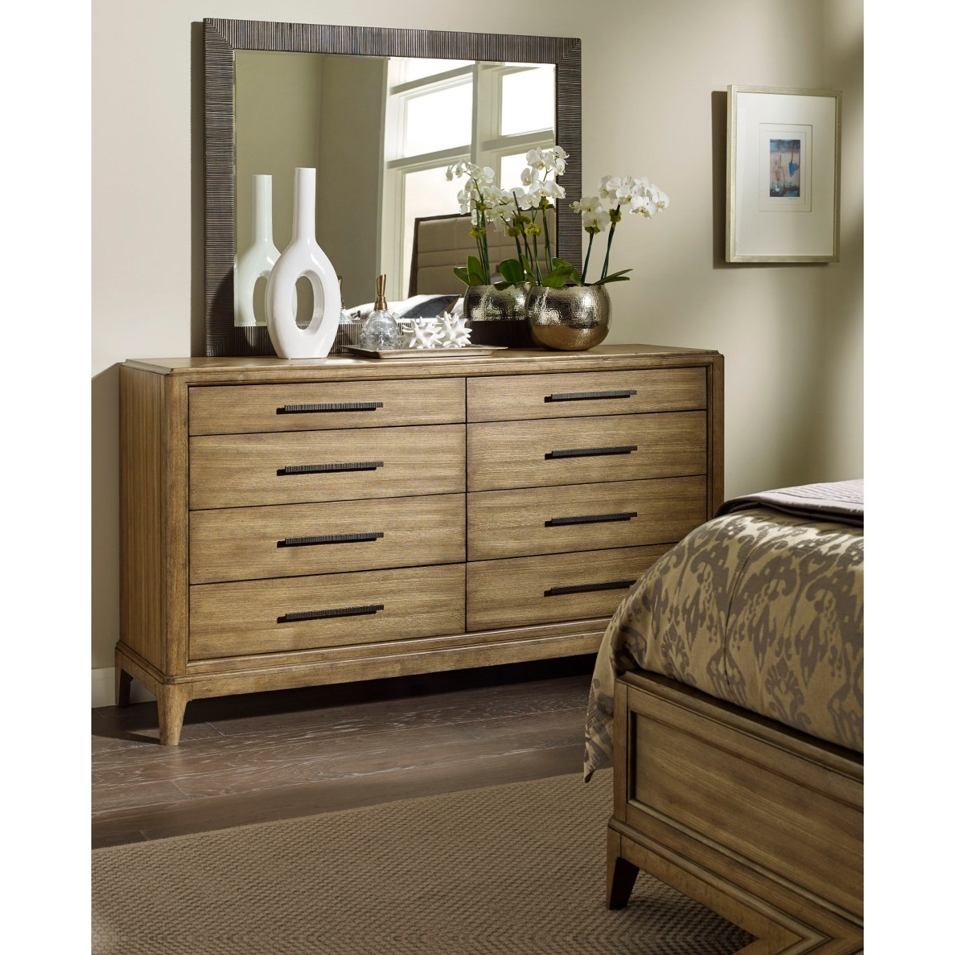 American drew evoke dresser with 8 soft close drawers and landscape mirror stoney creek for Bedroom furniture soft close drawers