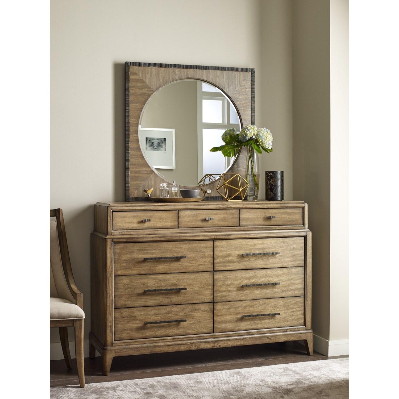 American drew evoke bureau with jewelry tray and round for Bureau with mirror
