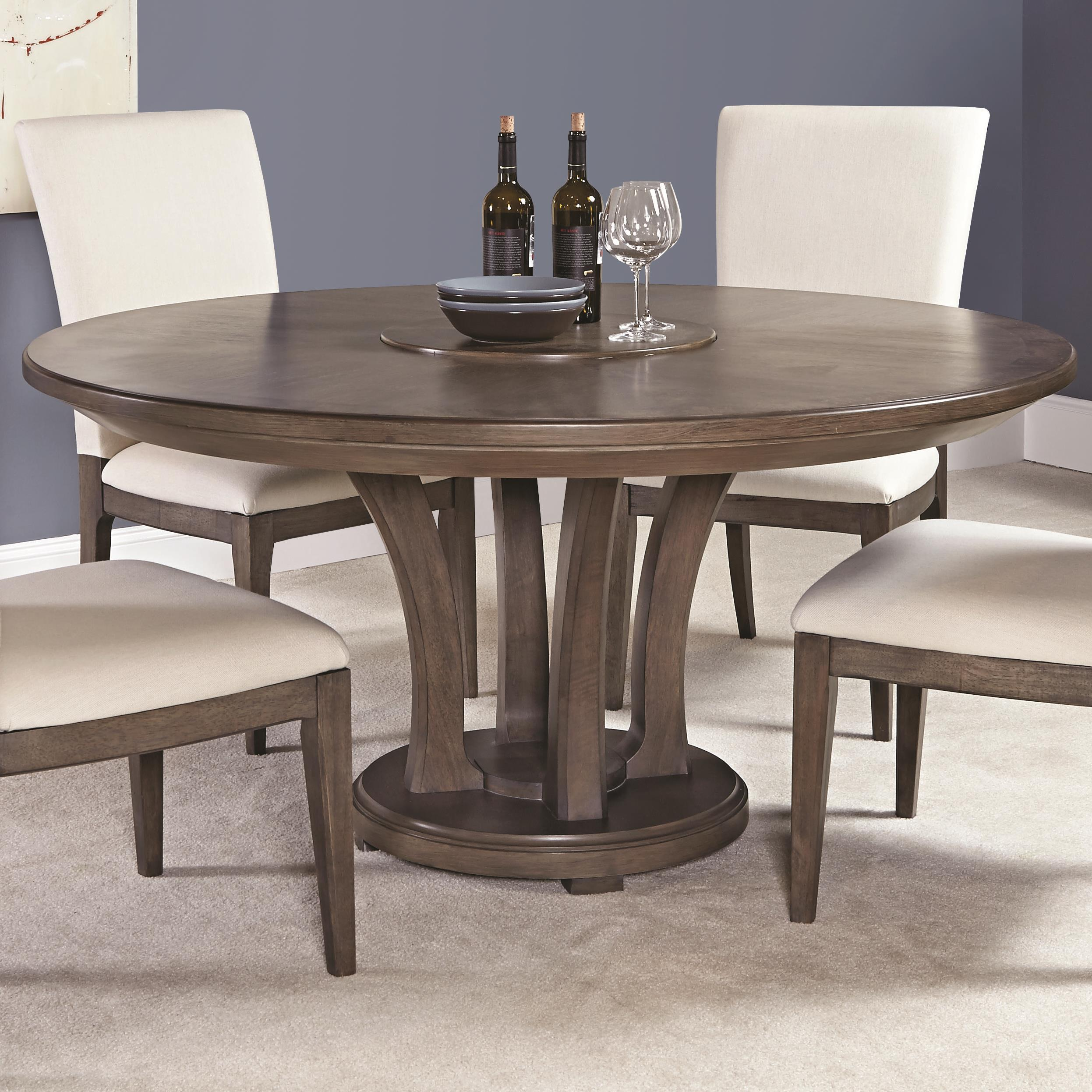 American Drew Park Studio Contemporary 62 Inch Round Dining Table With Trestle Base Stoney