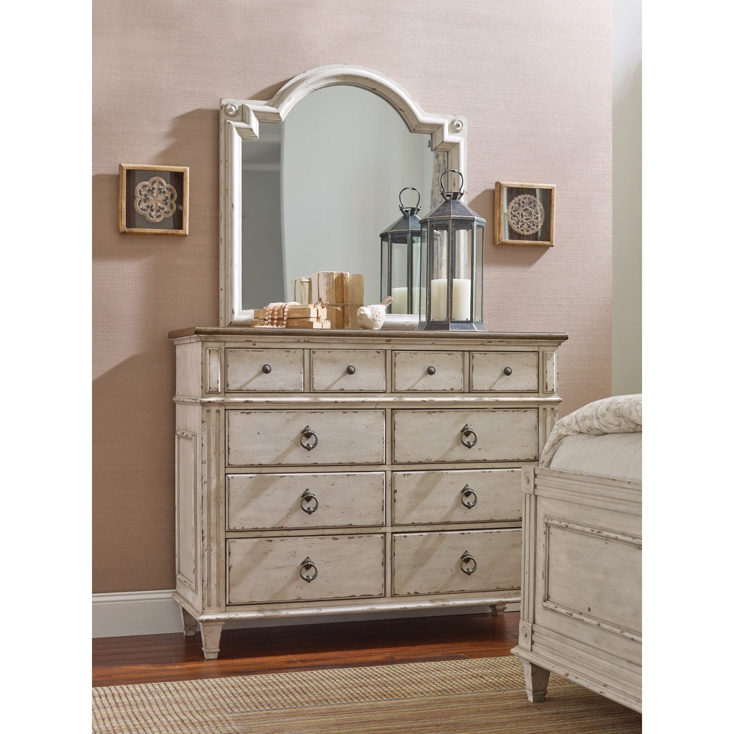 American drew southbury bureau mirror with top accent for Bureau with mirror