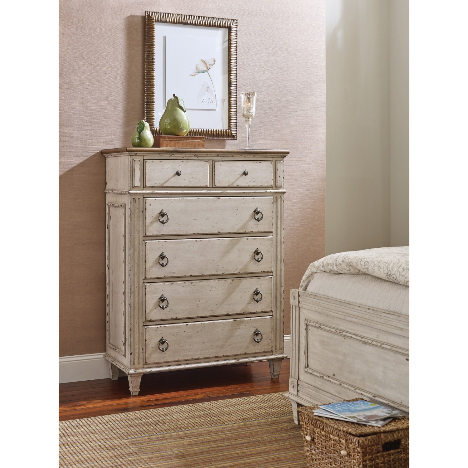 American drew southbury drawer chest with 5 soft close drawers stoney creek furniture chest for Bedroom furniture soft close drawers