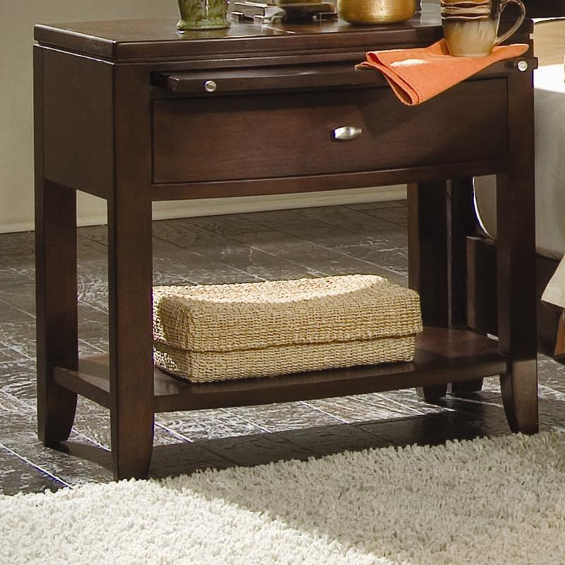 American Drew Tribecca 912 400 Leg Nightstand With Pullout Tray Hudson 39 S Furniture Night Stands