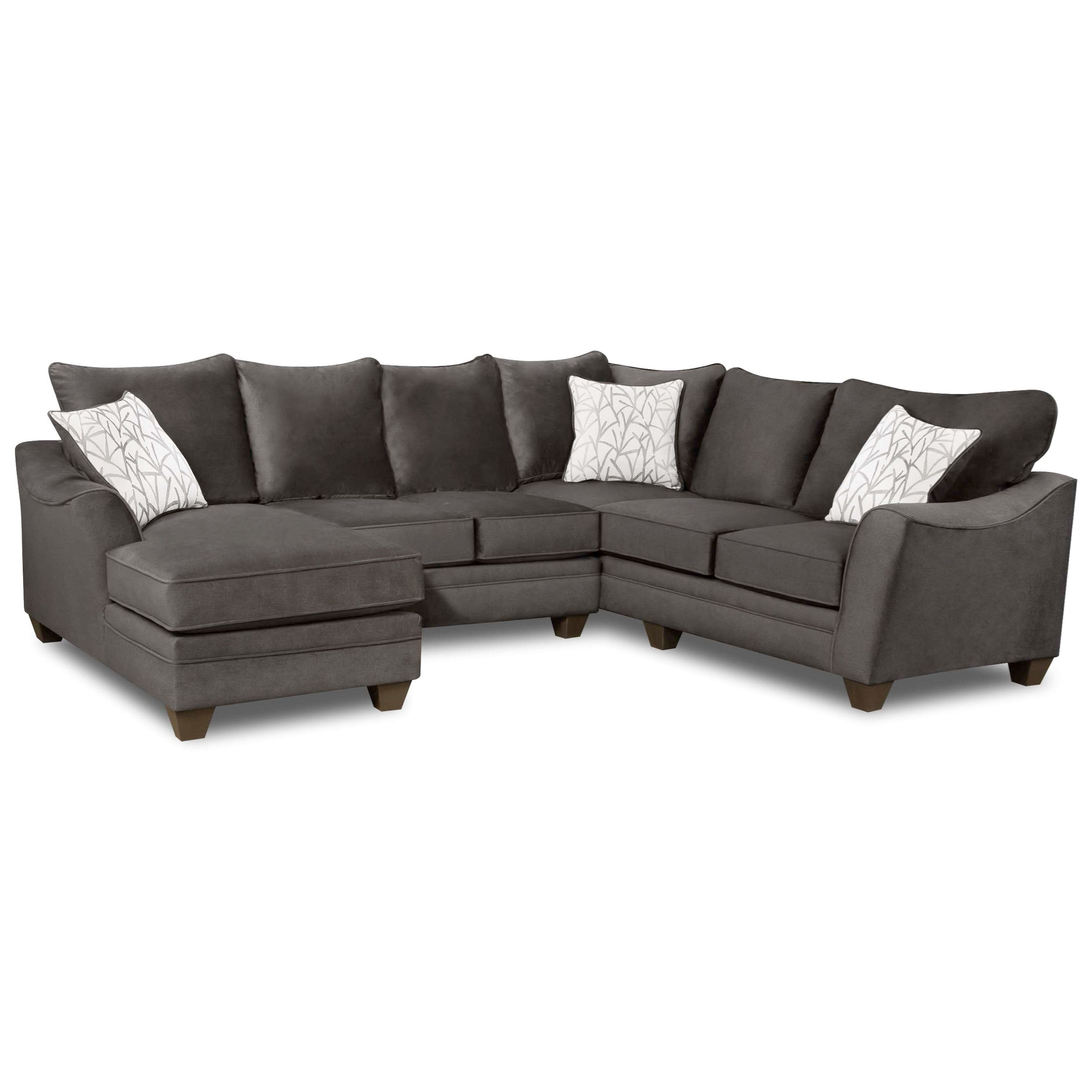 American furniture 3810 sectional sofa with 5 seats for Sectional sofa seats 6