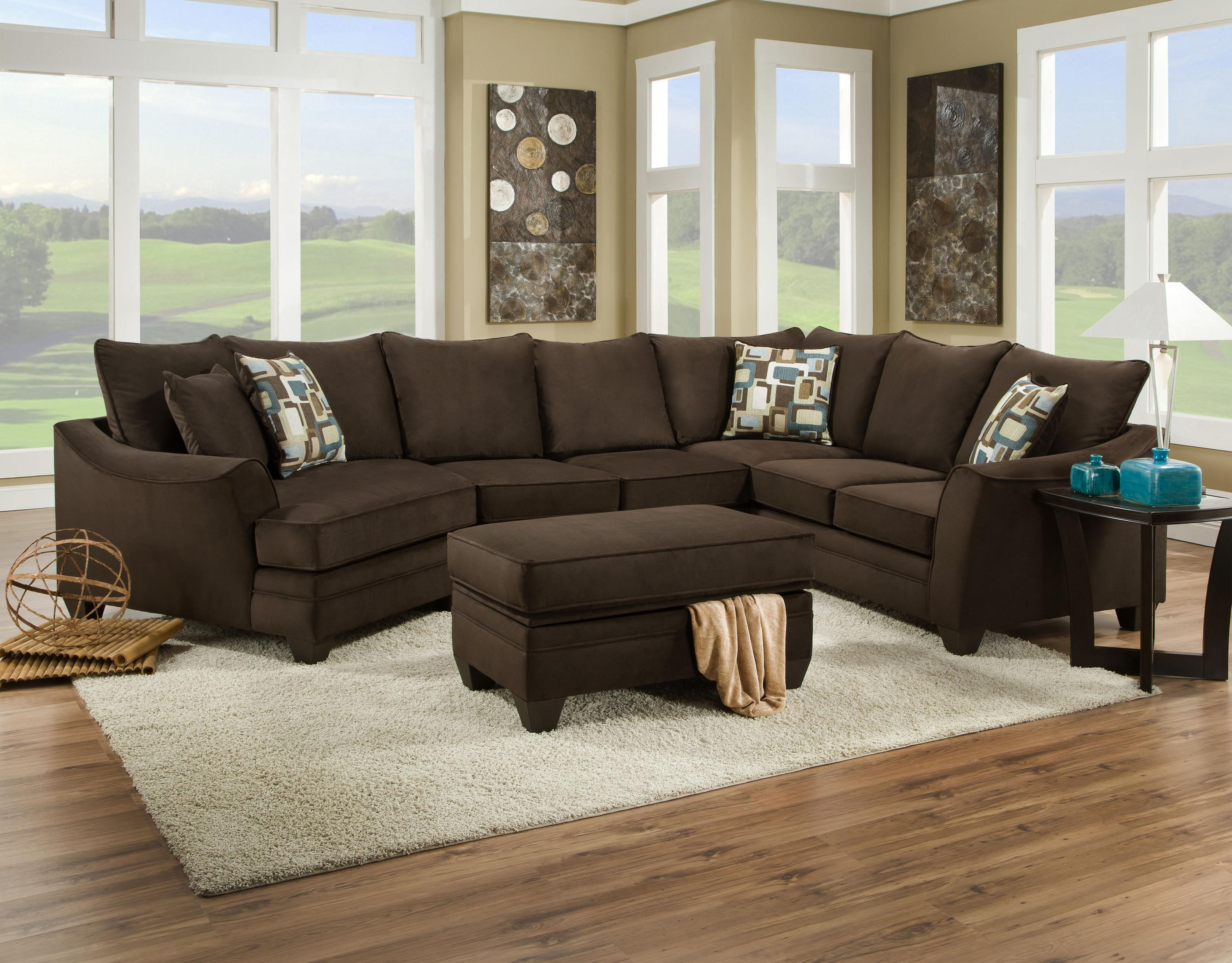 American Furniture 3810 Sectional Sofa That Seats 5 With Left Side Cuddler Miskelly Furniture