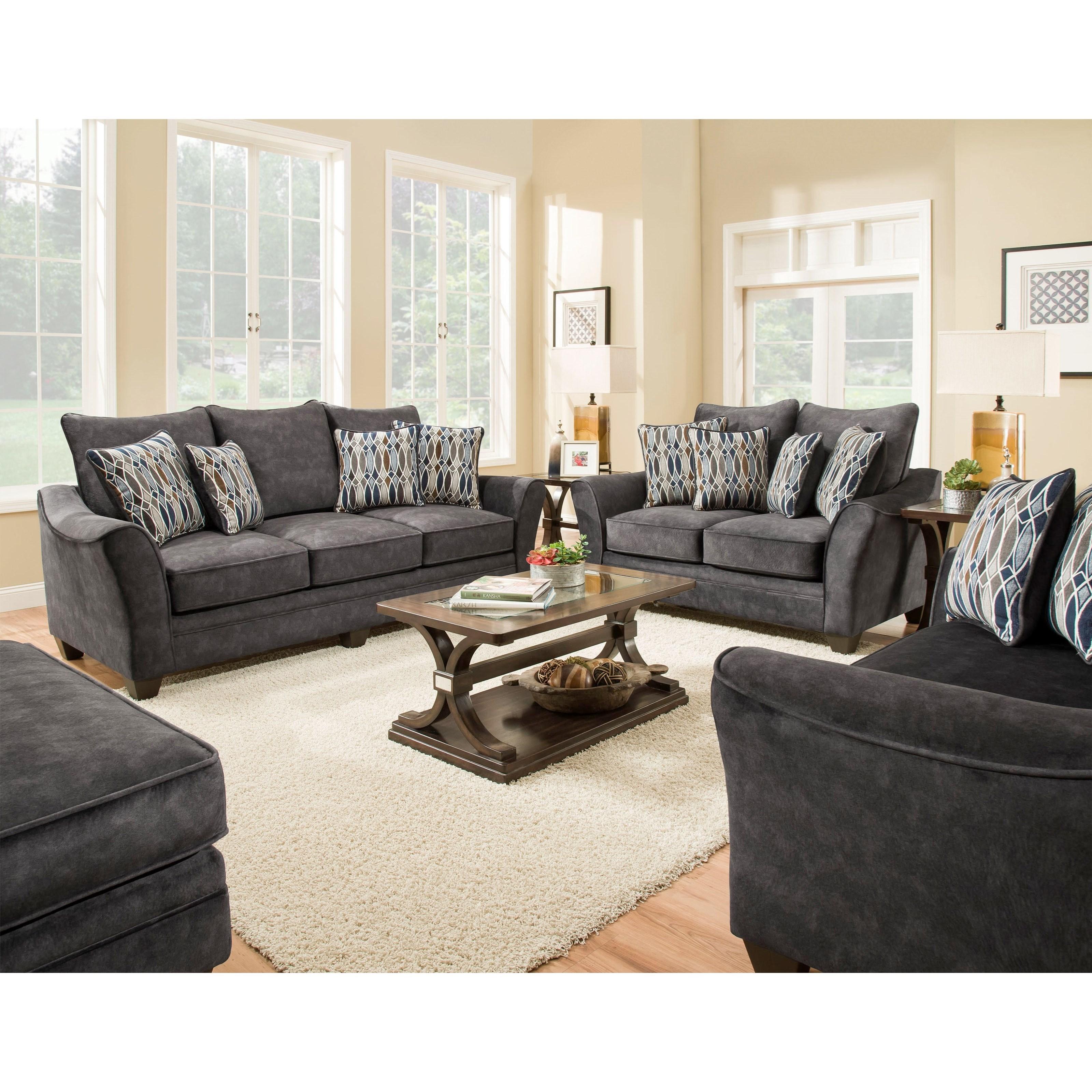 American furniture 3850 stationary living room group for Living room furniture groups
