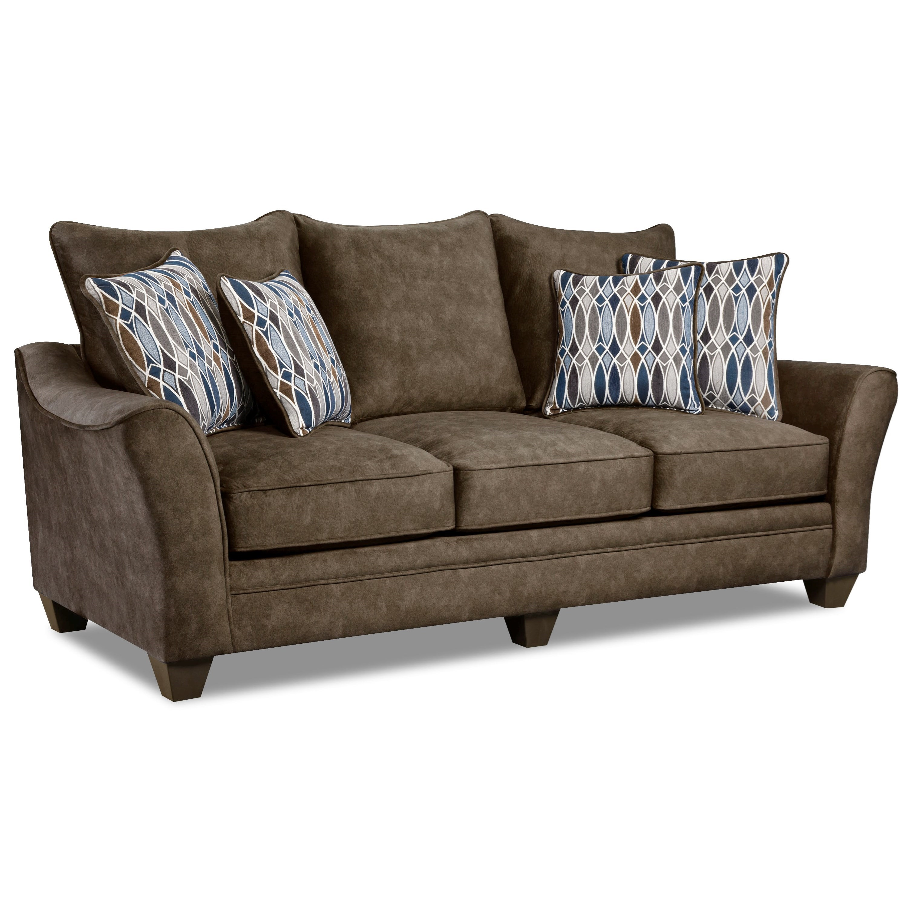 American Furniture 3850 3853 Athena Brown Elegant Sofa With Contemporary Style Great American