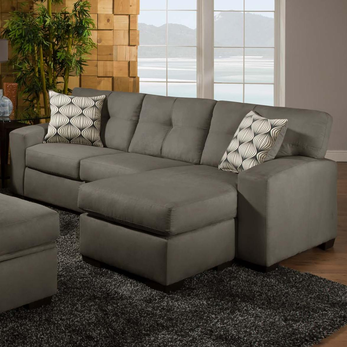 american furniture 5100 group small sectional sofa with chaise ottoman prime brothers. Black Bedroom Furniture Sets. Home Design Ideas