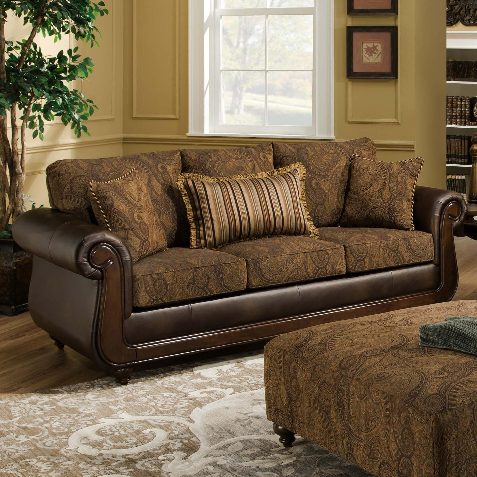 American furniture 5850 sofa with exposed wood in classic for Classic style sofa