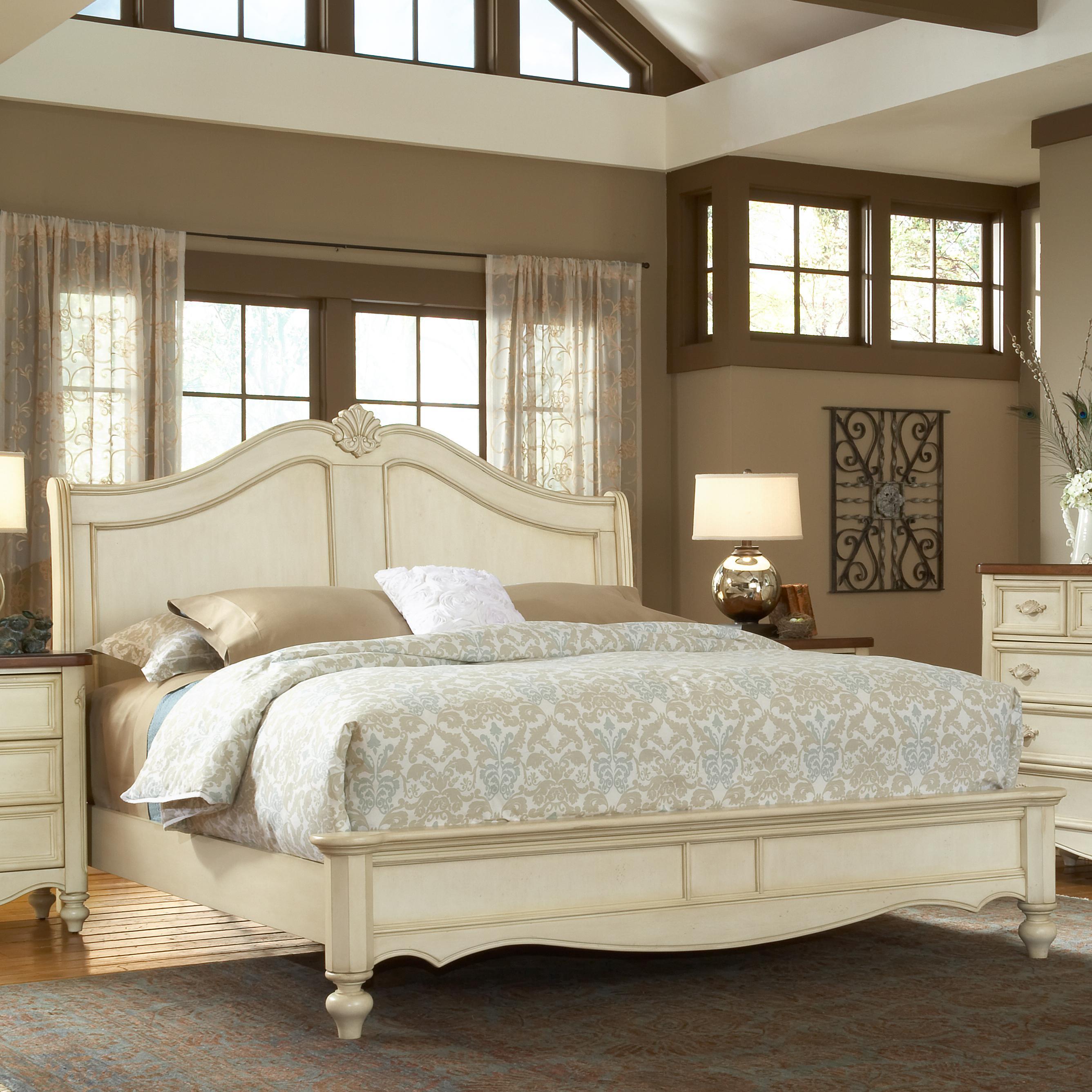 American Woodcrafters Chateau 3501 50sle Queen Size Fleur De Lis Headboard Bed Nassau
