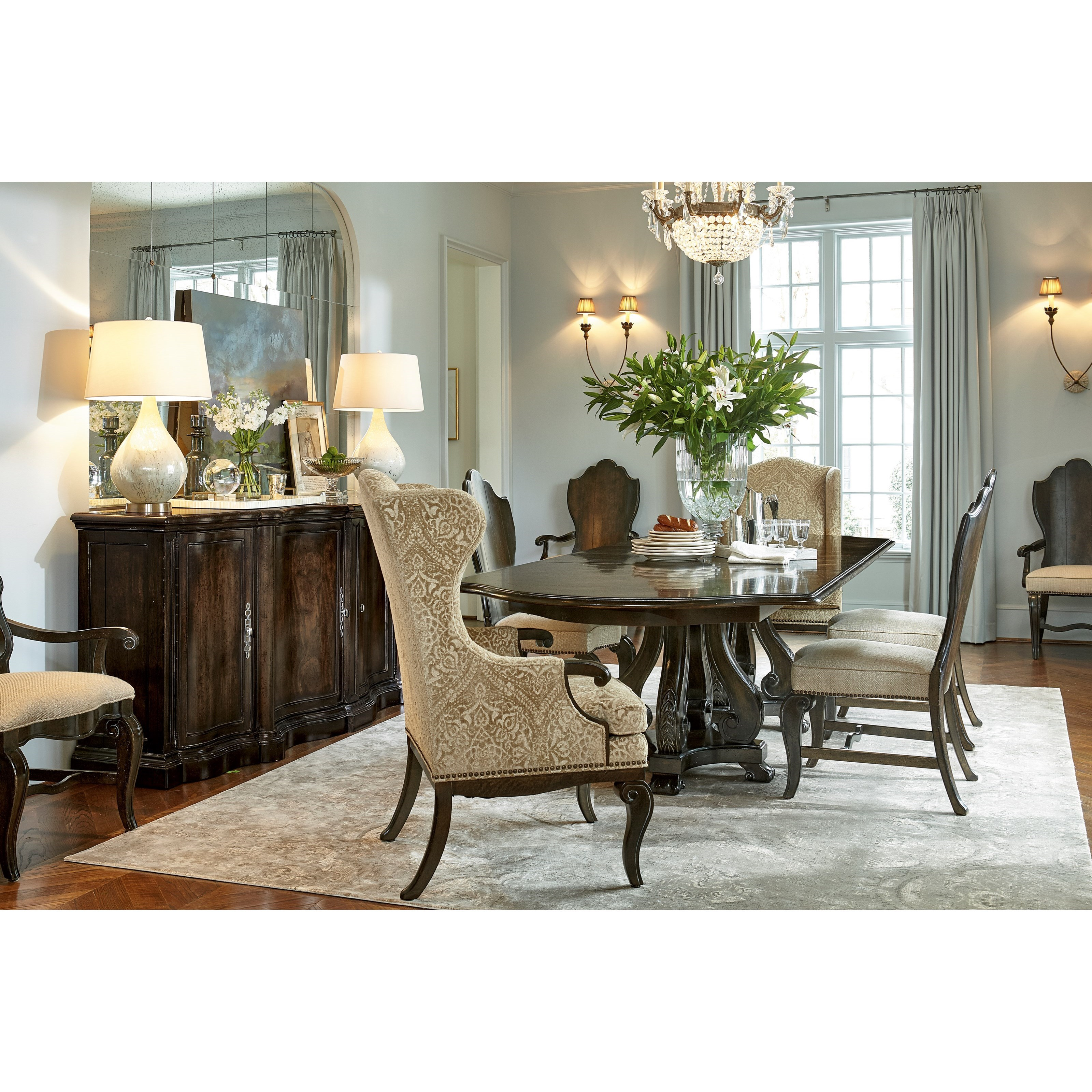 A r t furniture inc continental 7 piece double pedestal for Double t dining plan