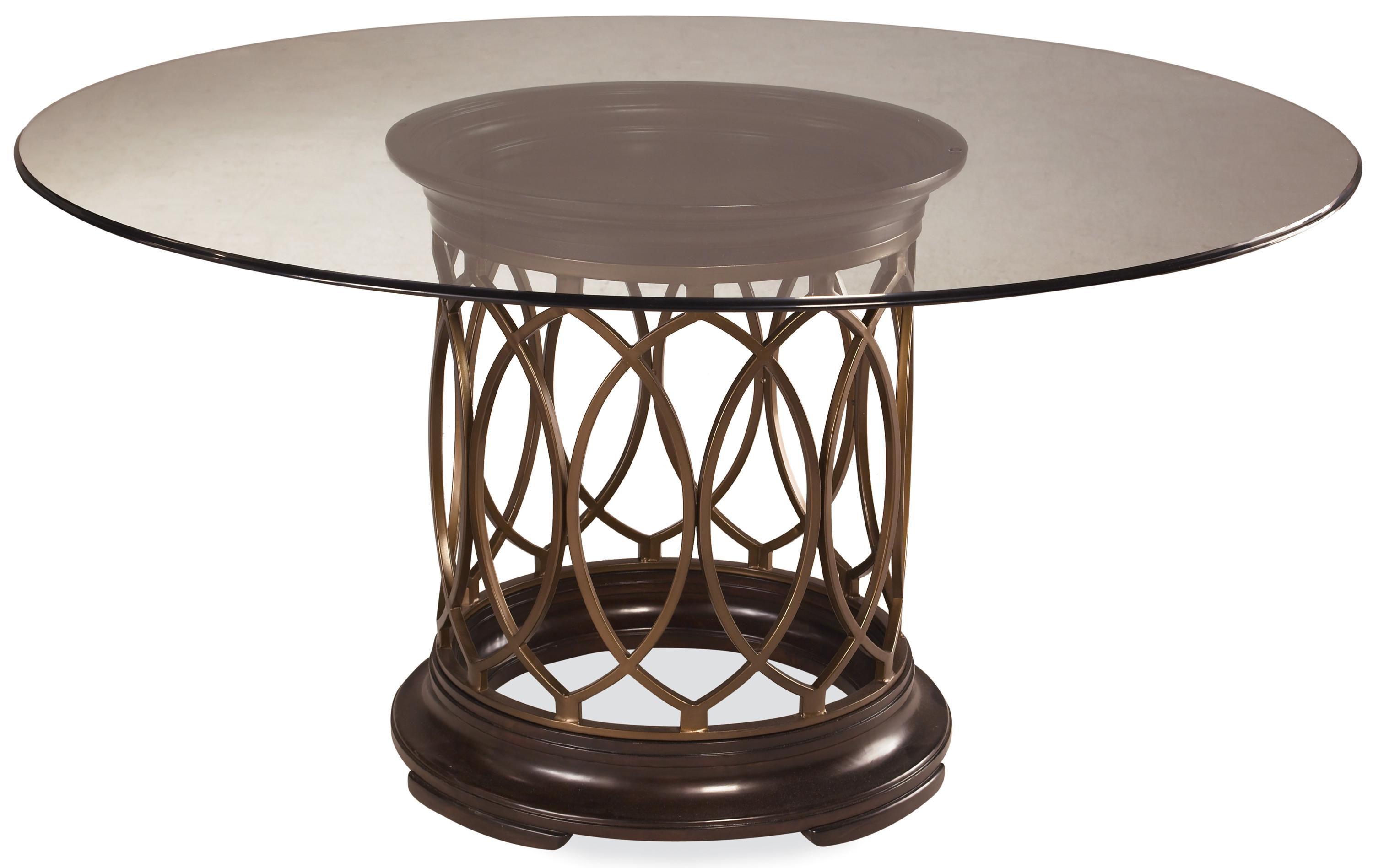 A r t furniture inc intrigue round glass top single for Metal dining table