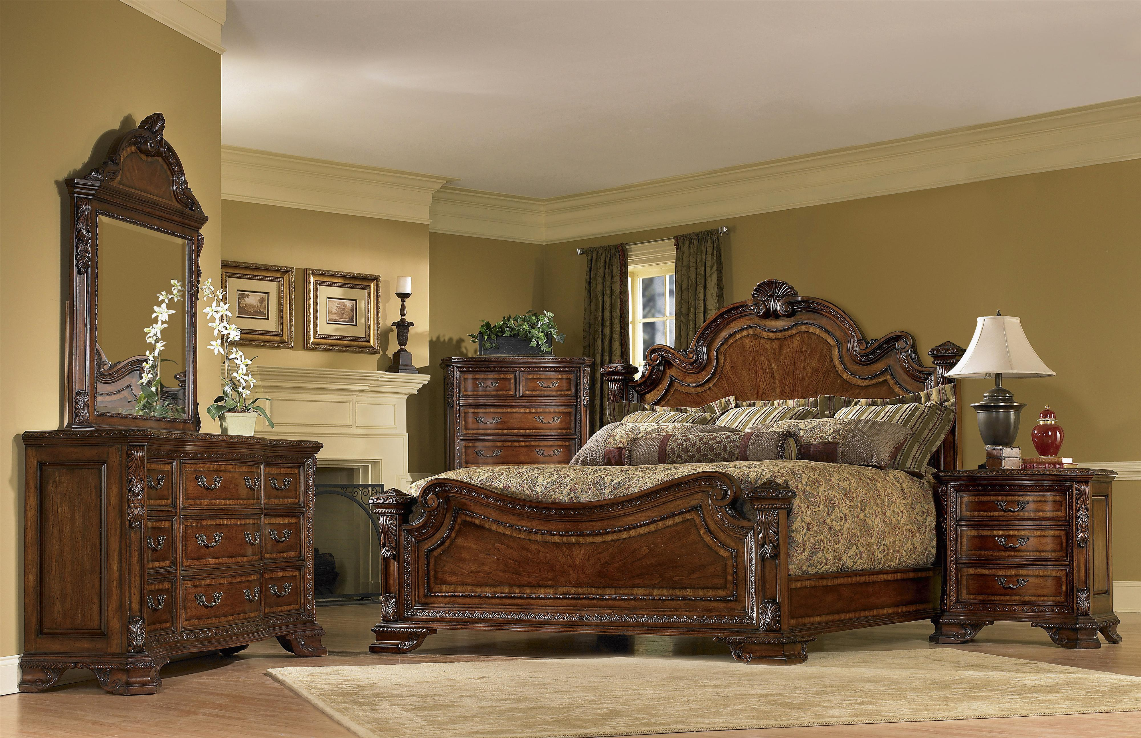 A r t furniture inc old world king bedroom group olinde for Bedroom furniture groups