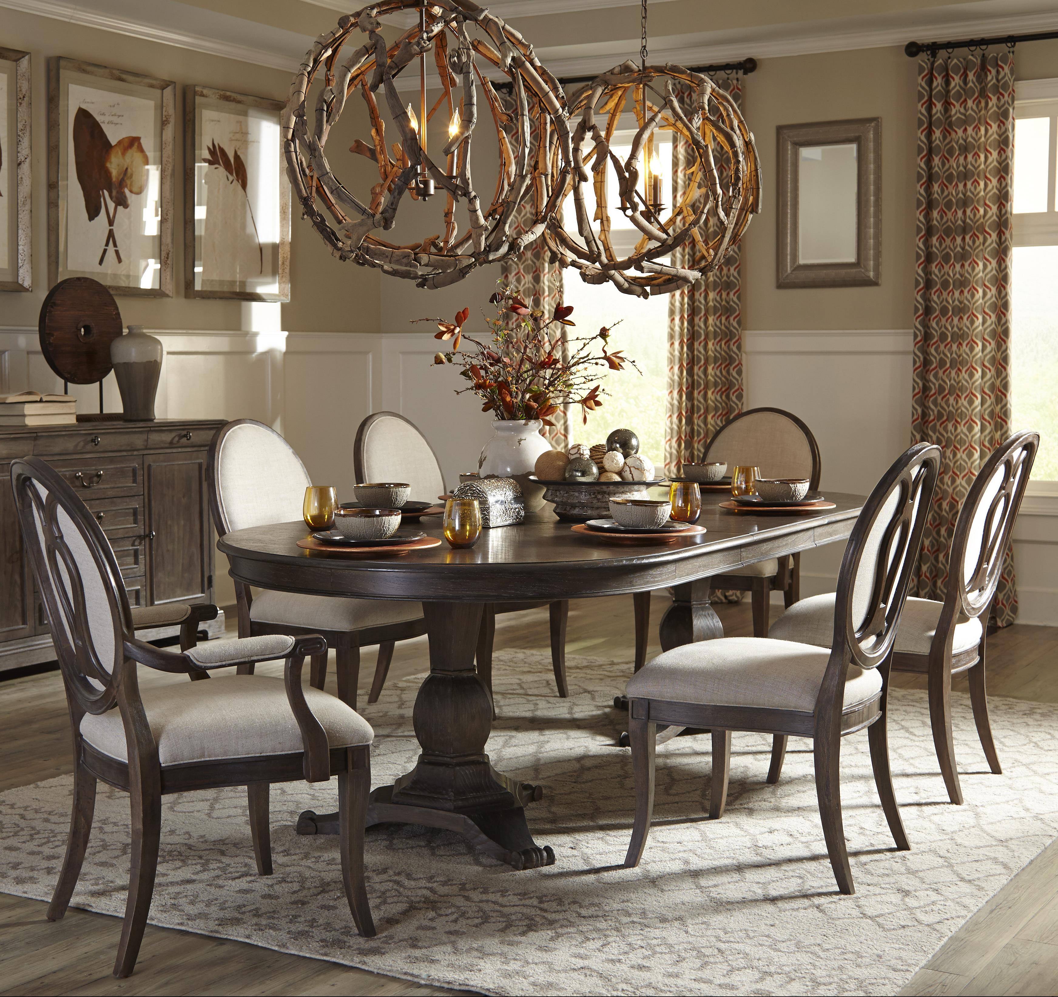 A r t furniture inc saint germain 7 piece double pedestal for Double t dining plan