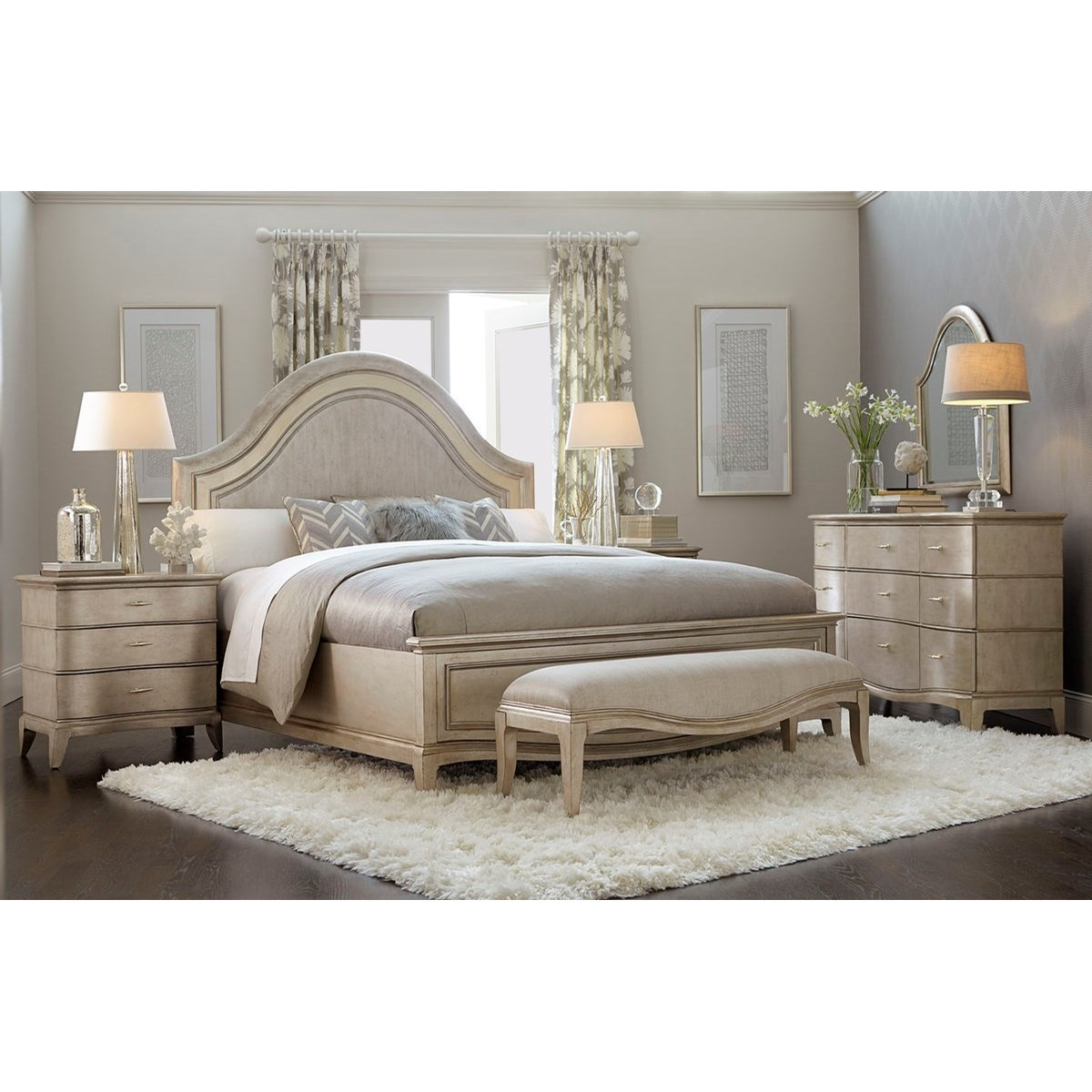 A r t furniture inc starlite king bedroom group stoney for Stoney creek bedroom set