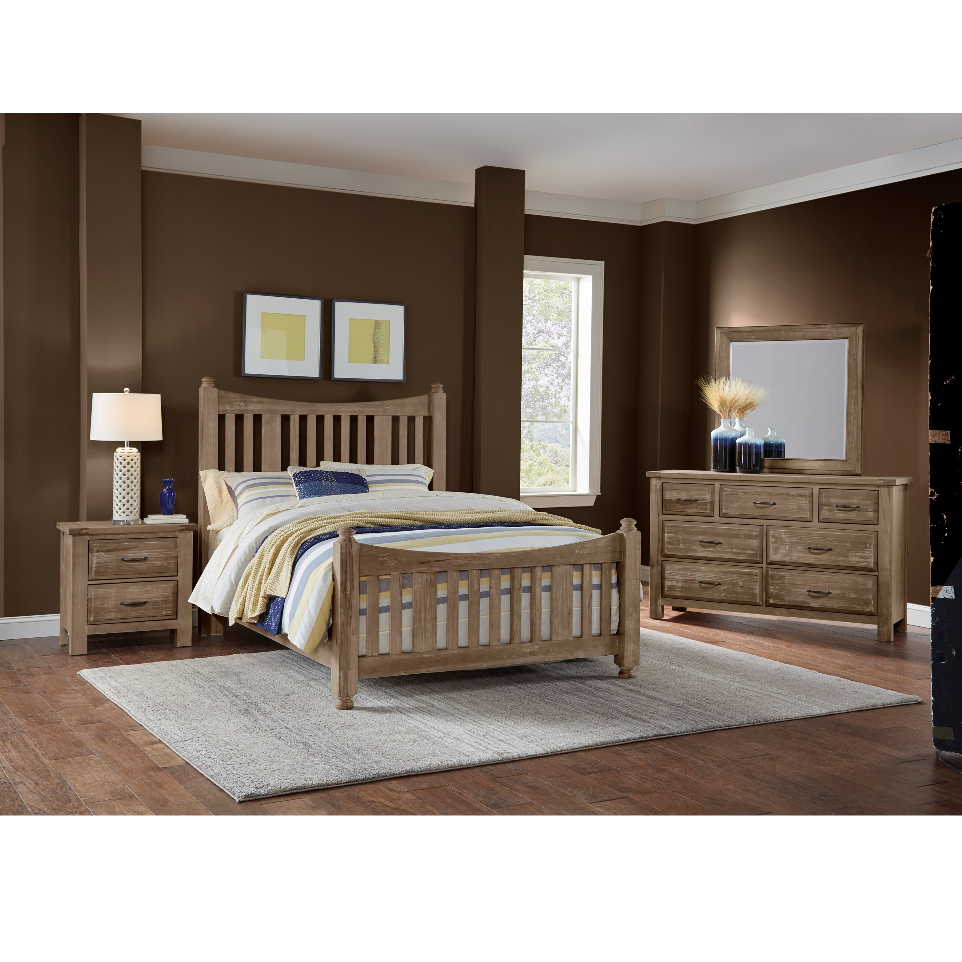 Artisan Post By Vaughan Bassett Maple Road Solid Wood Queen Slat Poster Bed Becker Furniture