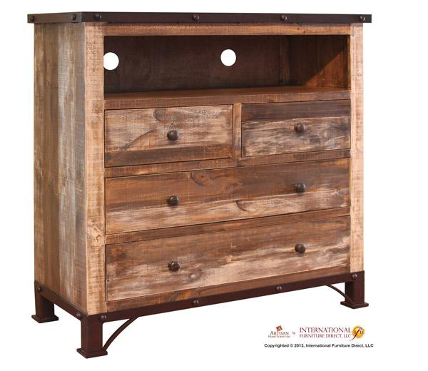 International Furniture Direct 970 Media Chest Ivan