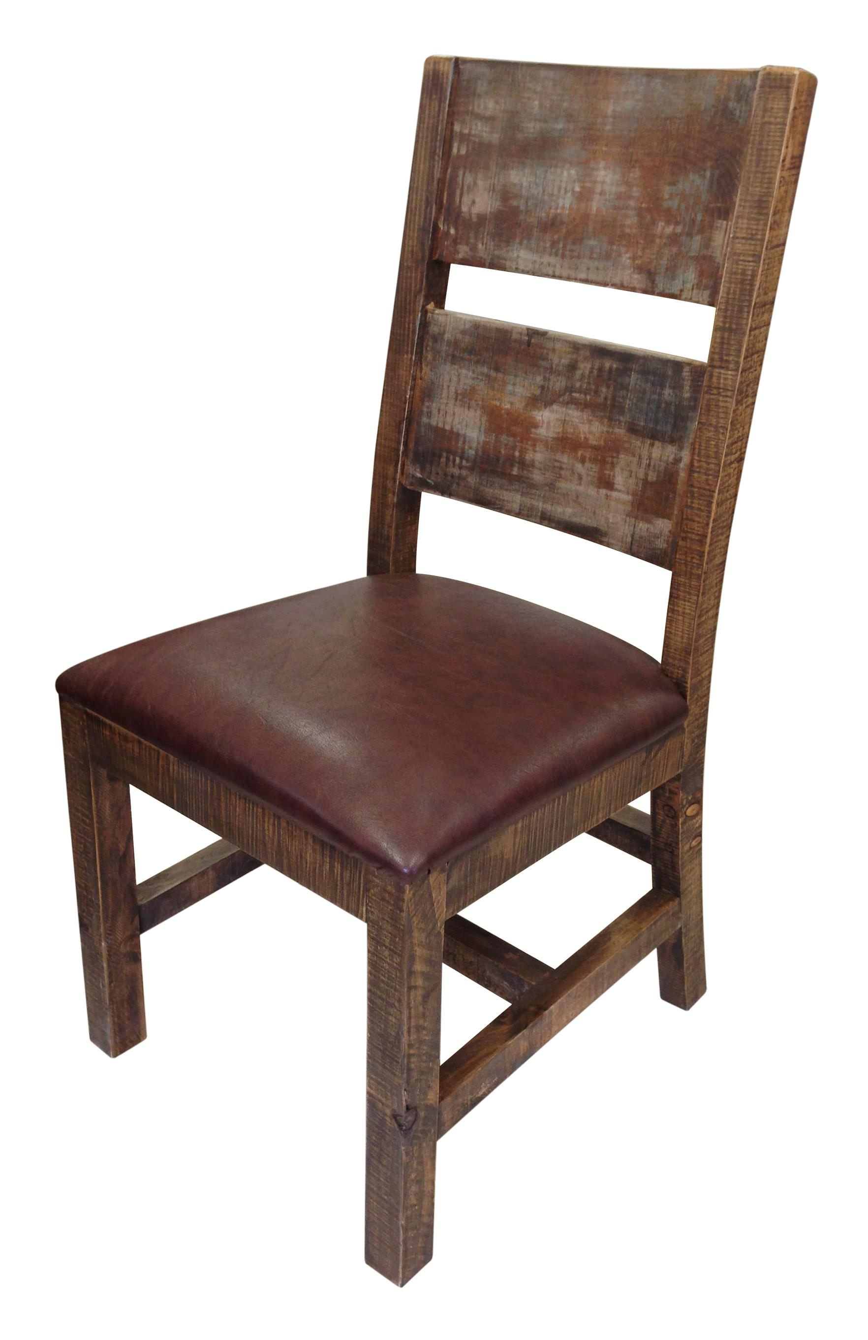 International furniture direct 900 antique ifd967chair mc for Wood leather dining chairs