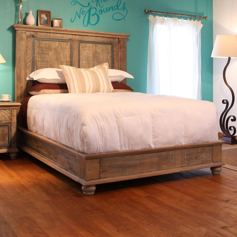 International Furniture Direct Praga Low Profile Queen Bed With Oversize Molding Furniture And