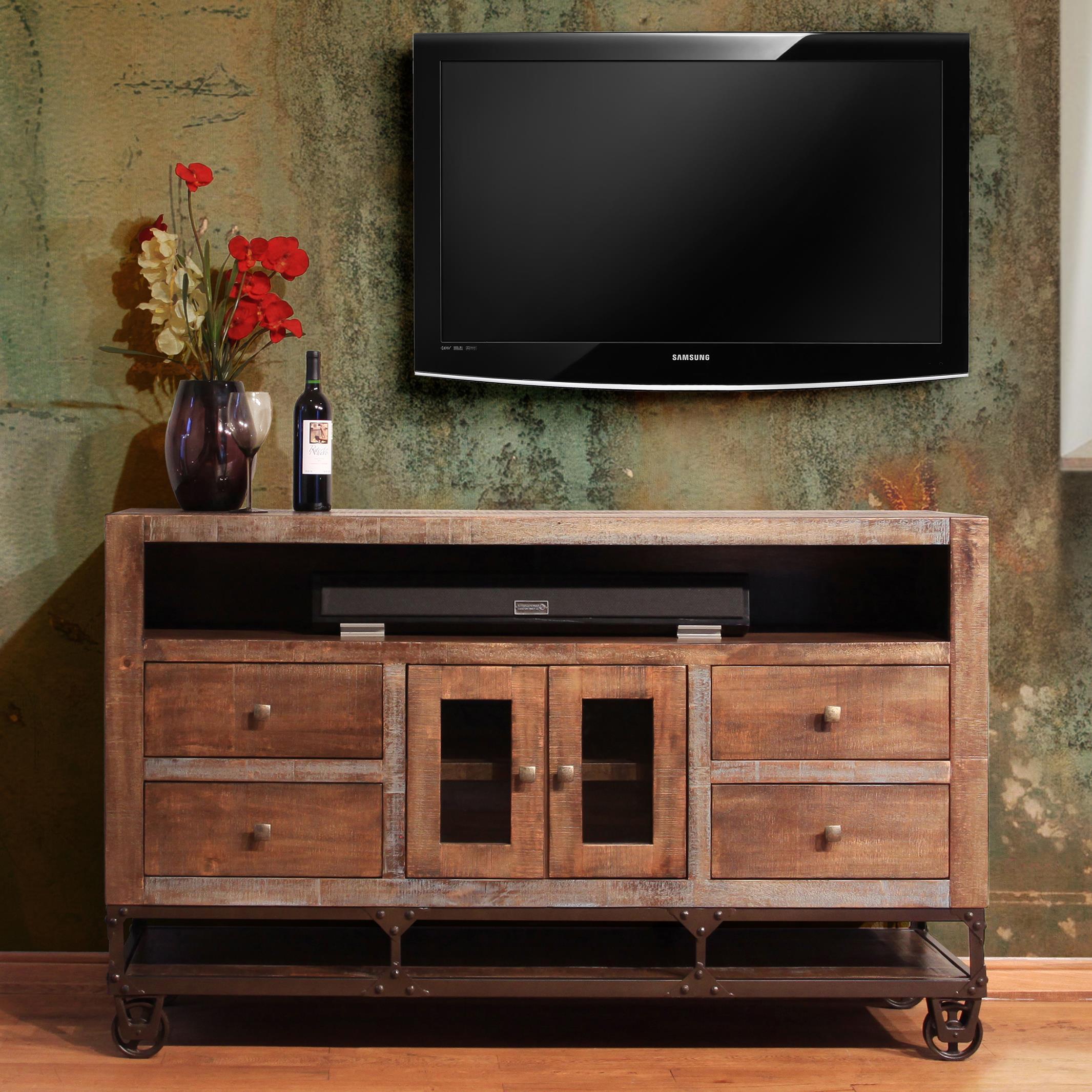 international furniture direct urban gold ifd560stand 62 62 solid wood tv stand dunk bright. Black Bedroom Furniture Sets. Home Design Ideas