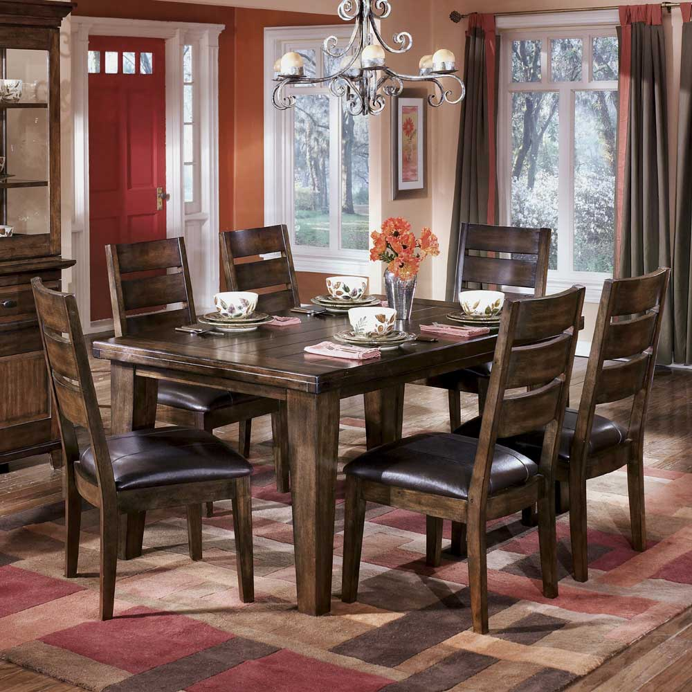 ashley signature design larchmont rectangular dining table and 6 side chairs dunk bright. Black Bedroom Furniture Sets. Home Design Ideas